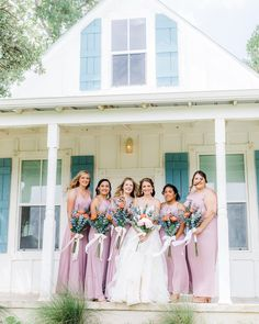 Lovely shades of lavender for the perfect spring or summer bridal party! | #lavenderbridesmaids #purplebridesmaiddresses #lavenderbridesmaiddresses | Style F20064, F20065, F19953, F19773 in Lavender Haze | Shop these styles and more at davidsbridal.com | Photo by: @rootedtrumpetphotography Lavender Bridesmaid Dresses, Wedding Dresses, Purple Table Decorations, Shades, Bridal, Spring, Pretty, Summer, Shop