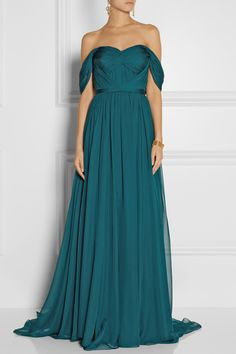 Marchesa | Off-the-shoulder silk-chiffon gown | NET-A-PORTER.COM