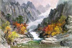 문정웅 그림『금강산 만물상』, 그는 1944년 평양에서 출생. 평양미대를 졸업 후, 만수대창작사에서 40여년간 활동하였다. 그의 작품은 색채가 풍부하고 필치가 활달하며 특히 금강산의 가을 North Korea, Waterfall, Drawings, Painting, Outdoor, Sculpture, Punto De Cruz, Dots, Outdoors