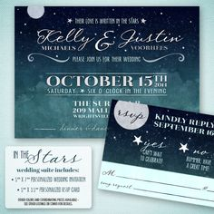 Love Written In The Stars Wedding Invitation By Projectcottageink 25 00
