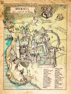 Hogwarts illustration inspired by 16th century engraving style