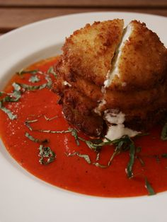 this warm recipe for zesty fried green tomatoes with goat cheese and red pepper coulis comes to us from south city kitchen in atlanta - South City Kitchen