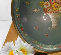 Round Metal Tray - Vintage Psychedelic Painted - Shabby Chic / BoHo Bistro Serving / Display