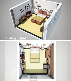 Supernatural - Dean& Room by Nazgullow on DeviantArt Supernatural Bunker, Supernatural Pictures, Harry Potter Room, Sims 4 Build, Flat Shapes, Amazing Buildings, Craft Stick Crafts, Floor Plans, Deviantart