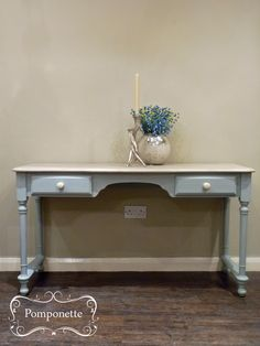 Long Console Table. We acheived this colour by lightening @anniesloanhome Duck Egg Blue with Pure #chalkpaint | by Pomponette | Leicester | SOLD