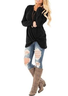 Women's Casual Black T Shirts Twist Knot Tunics Tops – Sampeel Fashion Clothes Online, Online Shopping Clothes, Fall Sweaters, Latest Fashion Trends, Types Of Sleeves, Long Sleeve Tops, T Shirts For Women, Clothes For Women, Knits