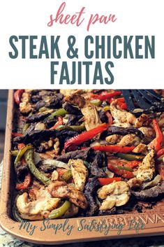 Mexican-spiced steak strips, bell peppers and onions are baked together in the oven for a one-pan meal that makes clean up a breeze. Sheet Pan Steak Fajitas - Sheet Pan Fajitas with Steak and Chicken Recipe - My Simply Satisfying Life Oven Baked Fajitas, Oven Baked Steak, Chicken Fajita Recipe, Chicken Recipes, Spinach Recipes, Steak Recipes, Steaks, Mexican Food Recipes, Chicken