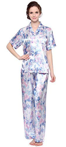 Women's Short Sleeve Pyjamas set Home Sleepwear High Quality Satin Poly, Shirt + Pants One pocket at left chest, V neck and short sleeve, Pants with elastic waistband Great gift for family or friend, perfect nightwear and silky feel in summer for bedtime or around the house Machine Washable in cold water  Sale:$22.99
