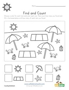 16 super fun find and count worksheets for kids. Find and count each of the different types of objects and write your answers in the spaces at the bottom. Christmas Worksheets Kindergarten, Summer Worksheets, Graphing Worksheets, Printable Preschool Worksheets, Free Preschool, Worksheets For Kids, Free Printable Flash Cards, Summer Safety, Mirai Nikki