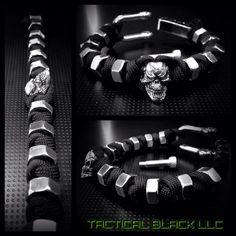 Paracord skull snake weave hexnut bracelet by TacticalBlackRDS