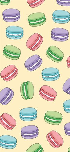 'Multiple Macarons' Sticker by Isabelle-Anne Macaron Wallpaper, Baking Wallpaper, Cute Food Wallpaper, Cute Pastel Wallpaper, Cute Patterns Wallpaper, Kawaii Wallpaper, Cartoon Wallpaper, Pastel Background, Iphone Background Wallpaper