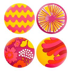 Shop the best of Marimekko for Target on domino. Domino editors share their favorite pieces from the new Marimekko for Target collection. Marimekko, Target Setting, Color Of Life, Salad Plates, Plate Sets, Home Collections, Pattern Wallpaper, Pink Yellow, Textile Design