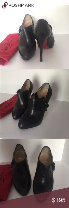 Christian Louboutin booties Black leather button up booties Christian Louboutin Shoes Ankle Boots & Booties