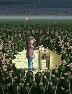 - The referendum of Crimea. a citizen votes surrounded by Russian soldiers. this art work speaks VOLUMES! Deep Art, Ukrainian Art, Twitter Image, Political Art, Expressive Art, Rest Of The World, Women In History, Caricature, Ukraine