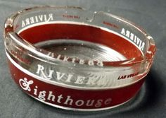 Riviera Las Vegas Strip Dark Red Band Clear Round Glass Ashtray Casino Hotel