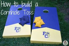 How to Build a Cornhole Toss: diy cornhole boards make them in navy and orange with our monogram to have at the wedding! Will be recruiting dad to sew the bags! or this tutorial is great too http://www.sawdustandpaperscraps.com/2011/07/19/bean-bag-toss-tutorial/