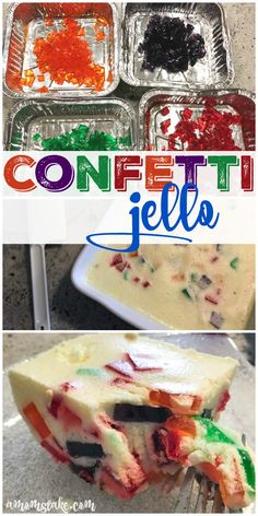 Easy and fun, this kid-friendly confetti jello recipe will be a crowd pleaser! A really fun dessert or after school treat! via @amomstake