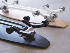 Currently being backed on Kickstarter, the Stair-Rover is an longboard / skateboard that glides down stairs and across cobblestones as easily as. Longboard Design, Skateboard Design, Skates, Board Skateboard, Electric Skateboard, Skate Surf, Truck Wheels, Longboarding, Electric Cars
