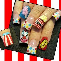 Carnival Nails by via Nail Art Gallery Holiday Nail Designs, Cool Nail Designs, Holiday Nails, Christmas Nails, Circus Nails, Carnival Nails, Summer Vacation Nails, Summer Nails, Nail Art For Kids