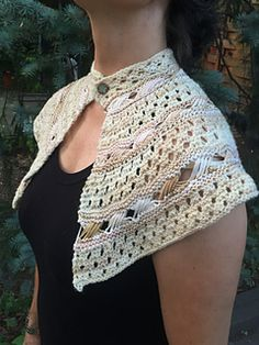 Exes and Ohs is a garter lace and Indian Cross Stitch shawlette/capelet that covers the upper shoulders and back and closes on the neck with a button. I wanted to make a small piece that was formal for special nights out, and yet would stay in place and not flop into the dessert or sherry! It is worked back and forth with only knit stitches. Skills needed include: casting on and off, yarn over, knit two together, make one, wrapping and picking up dropped stitches. One full skein (200 yards)…