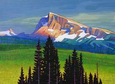 Mount Albreda Afterglow, 36x48 inches, Oil on canvas, by Nicholas Bott, Canadian