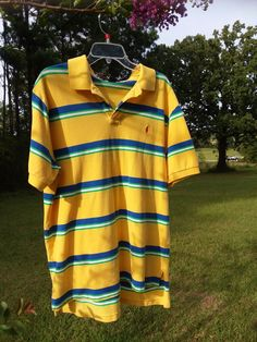 Yellow and blue stripes Size XL Short sleeve