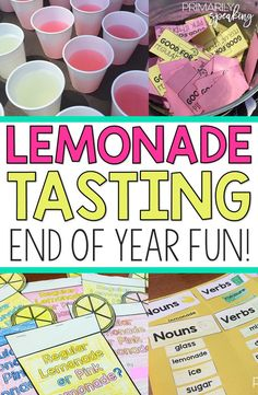 End of year theme days are a sanity saver!  My students absolutely love participating in a lemonade tasting and I love how it keeps them engaged while working on meaningful activities!