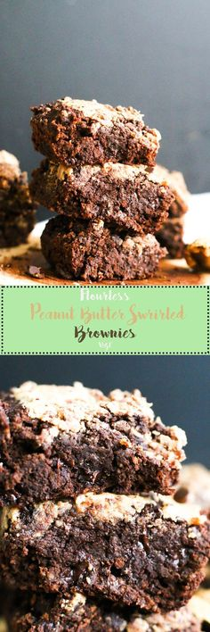 These flourless peanut butter swirl brownies are vegan, gluten free, refined sugar free, and the perfect dessert. They're made with minimal ingredients, are filled with flavor, and are your next favorite treat.