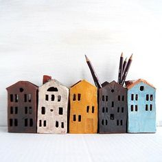 Gifts For Teachers-Ceramic Pencil Holder-Tealight - Inspired by Warsaw old town. Tin house ceramic candle and pencil holders. And by Vsocks Pottery Houses, Ceramic Houses, Ceramic Clay, Clay Houses, Ceramic Bowls, Cardboard Houses, Hand Built Pottery, Slab Pottery, Ceramic Pottery