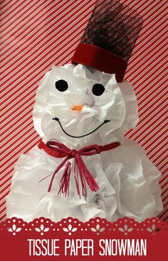 Craft Ideas with Mesh Ribbon | Tags: Snowman Craft , Tissue Paper Crafts , Tissue Paper Snowman