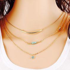 Fine Jewelry estilo verão Bohemia cadeia corpo colares Mujer Eye Multilayer Bohemia Bead colar de cadeia dupla para mulheres LS53 em Colares com pingente de Jóias no AliExpress.com | Alibaba Group