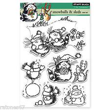 New Penny Black WINTER PLAY Clear Stamps Christmas Cat Mice Critters Snowman