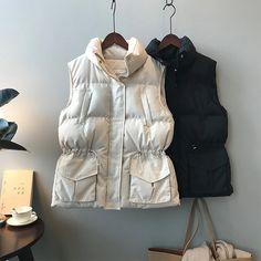 Drawstring Waistcoat Bread Jacket Cotton Vest | Down Vest, Puffer Vest, puffer outfit Cotton Vest, Down Vest, Collar Pattern, Puffer Vest, Types Of Collars, Height And Weight, Winter Jackets, Bread, Beige