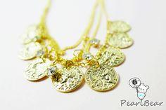 Golden Coin Necklace 復古風情‧人像 金幣 多層次短項鍊