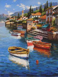 Anataloy Metlan Watercolor Landscape, Landscape Art, Landscape Paintings, Watercolor Art, Sea Art, Seascape Paintings, Painting Techniques, Art Oil, Painting Inspiration