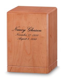 """The Portrait Solid #Maple with Honey Maple Finish Urn is now available at http://www.thecasketstore.com/ in the #wood #urns section.  Simple lines and symmetry give this vertical urn a perfect background for personalization with the name, and the dates of birth and death.  Size(s): 220 cubic in., 6 3/4""""W x 9 1/8""""H, 5 lbs Price: $269.95"""