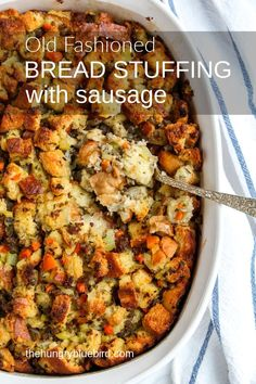 Old-fashioned Bread Stuffing with Sausage easy made from scratch bread stuffing . - Old-fashioned Bread Stuffing with Sausage easy made from scratch bread stuffing with sausage cooked - Sausage Bread, Sausage Recipes, Cooking Recipes, Stuffing Recipes For Thanksgiving, Thanksgiving Menu, Sausage Breakfast, Breakfast Recipes, Side Dish Recipes, Dinner Recipes