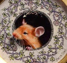 """Friday's detail: Little mouse, roses, bow and arrow.  Oil and ink, 4"""" diameter.  Détail du vendredi: Petite souris, roses, arc et flèche. Huile et encre, 10cm de diamètre. http://www.marinadieul.com/shop-3"""