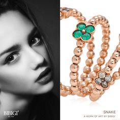 #Snake #Bibigi #ring #bracelet Sinuosi e brillanti avvolgono dita e polsi. Sono gli anelli e i bracciali della collezione Snake di Bibigì, gioielli a forma di serpente in oro bianco, giallo e rosa impreziositi da diamanti bianchi, brown e rubini.
