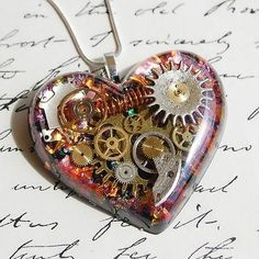 STEAMPUNK HEART NECKLACE PENDANT OPAL GEARS COGS STERLING SILVER RESIN HAND MADE in Jewellery & Watches, Costume Jewellery, Necklaces & Pendants | eBay