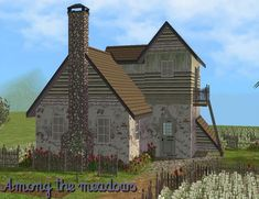 This small country house is a perfect place to rest. Surrounded by a meadows and fields. Sims 2, Small Country Homes, Casas The Sims 4, Old Bricks, Brick Wall, Second Floor, The Expanse, Perfect Place, Countryside