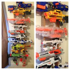 DIY Nerf gun rack- used a ladder from an old bunk bed. Used various hooks, wood screws, and nails to mount the guns.