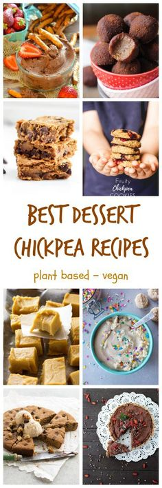 18 of the Best SWEET Chickpea Recipes - yes, that's right, chickpeas (garbanzo beans) in desserts! All dairy free and vegan. Many gluten free and oil free. Some are no bake. All of them delicious made with plant based protein.