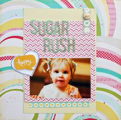 Holly's layout using @scrapbookcircle Happy Place kit #scrapbook