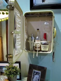Whatis there not to love about this Suitcase Mini Bar – by  Painted Home Designs