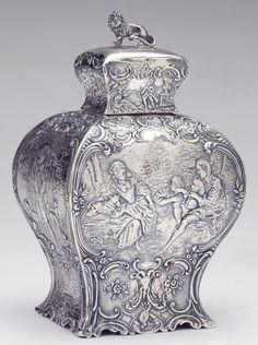 xx..tracy porter..poetic wanderlust...- Hanau Silver Tea Caddy 18th century   Dutch style.