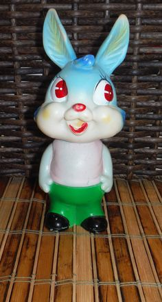 Vintage Bunny Rabbit Rubber Toy Vintage by Colorsforkidsshop