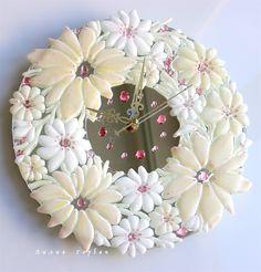 авторская работа, handmade, glass,  стекло, фьюзинг,  часы, цветы,  Лилия Горбач