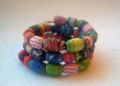 ♢♣ #Color Burst #Micro Recycled Paper Bead Wrap Finger Ring -- Size 4.5 by... #teens http://etsy.me/2n94dWa