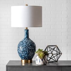 """nuLOOM 28"""" Tegular Ceramic Flask Linen Shade Table Lamp - On Sale - Overstock - 28668510 Drum Table, Table Lamp, Gold Couch, Fashion Lighting, Lamp Shade Store, Transitional Wall Sconces, Cool Floor Lamps, Flask, Home Lighting"""
